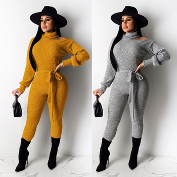 NEW Women bandage solid color Jumpsuits sexy long sleeve Bodysuit fashion high collar rompers Full Length Overalls clubs wear chic stand collar long sleeve rompers womens jumpsuits loose waist elastic drawstring streetwear robe slim overalls bodysuit