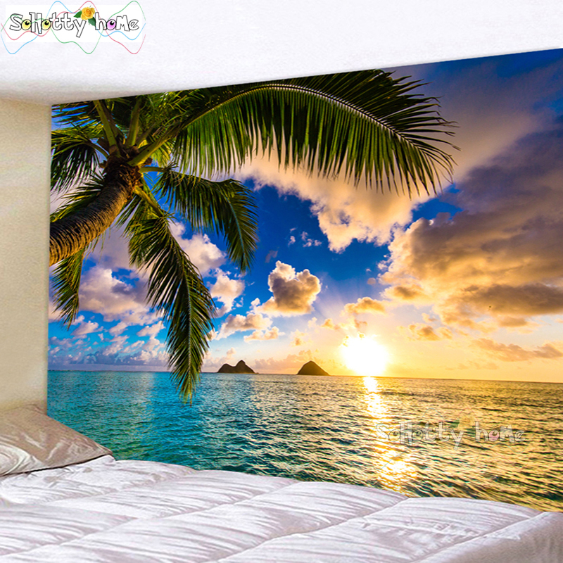 Vintage Tropical Beach Vacation Wall Hanging Tapestry Nature Landscape Sea Mountain Travel Beach Dorm Boho Decor Wall Blanket