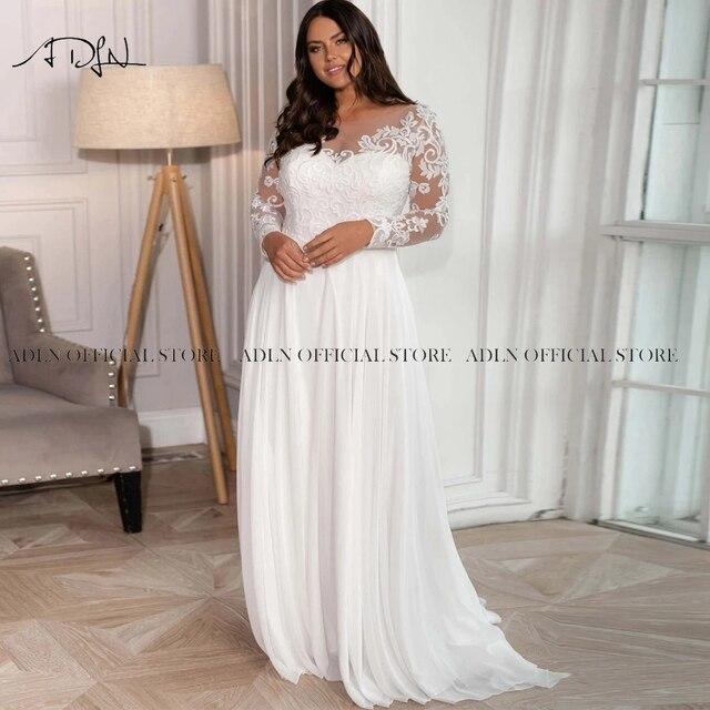 Elegant Scoop Long Sleeves Plus Size Bridal Gown Appliqued Chiffon Beach Wedding Dress with Sleeves Vestido de Novia 2021 3
