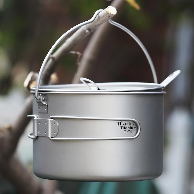 2000ml Big Capacity Titanium Camping Pot Outdoor Hanging Pot Ultralight Portable Camping Picnic Water Cup Kettle