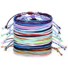 Красочный плетеный веревочный браслет в стиле бохо, Йога, ручная работа, шикарный браслет дружбы для мужчин, женщин, детей, ювелирные издели...