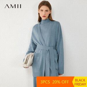 AMII Minimalism Autumn Winter Fashion Knitted Women Coat Solid Pocket Belt Knitted Women's Cardigan Female Coat 12040584