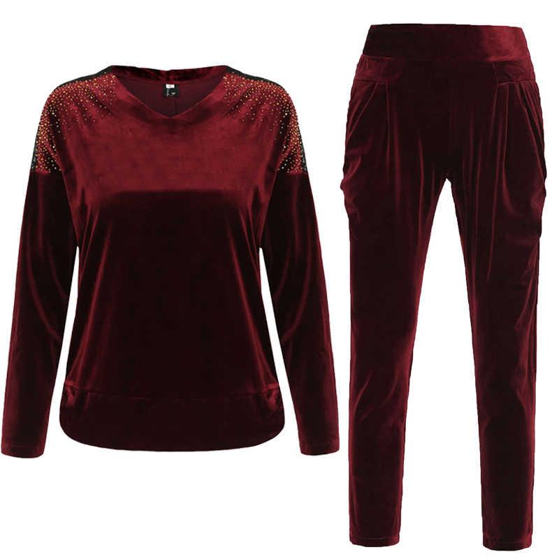 Vrouwen Kleding Tweedelige Set: hoody + Broek Stretchy Lady Trainingspak Fluwelen Conjunto Feminino Blauw Rood Paars Plus Size Xl ~ 4XL