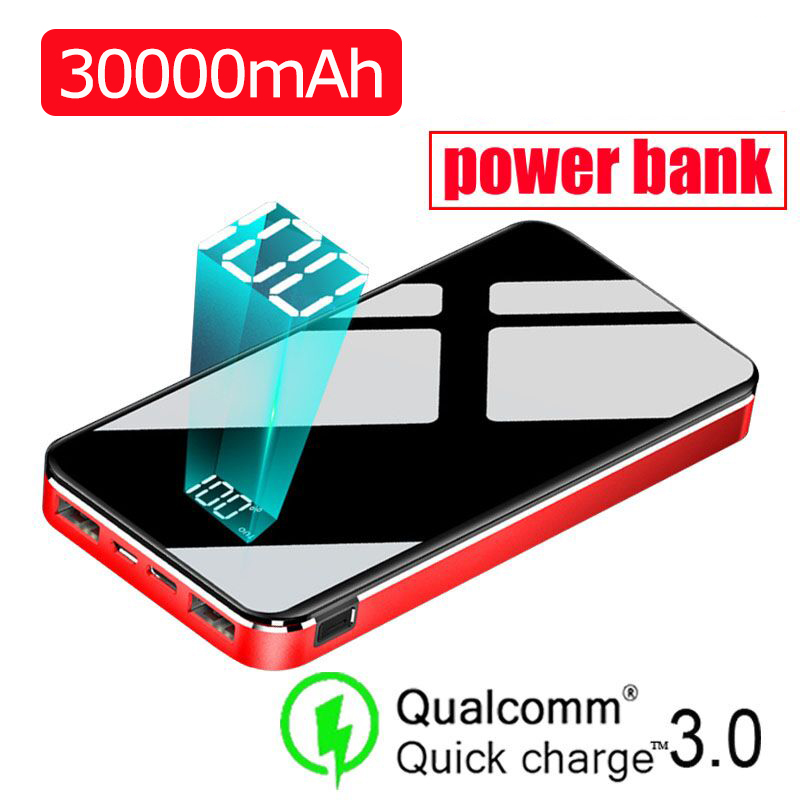 30000mAh Power Bank Full Screen Large Capacity Waterproof External Battery Portable Fast Charger For All Smartphone PowerBank