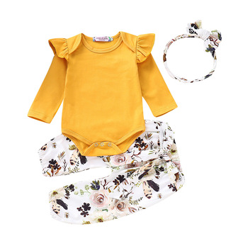 цена на Hot sale Newborn Baby Girl Clothes Romper T-shirt Top+Pants Leggings Outfits Set Girl Set 0-18M long sleeve Autumn winter