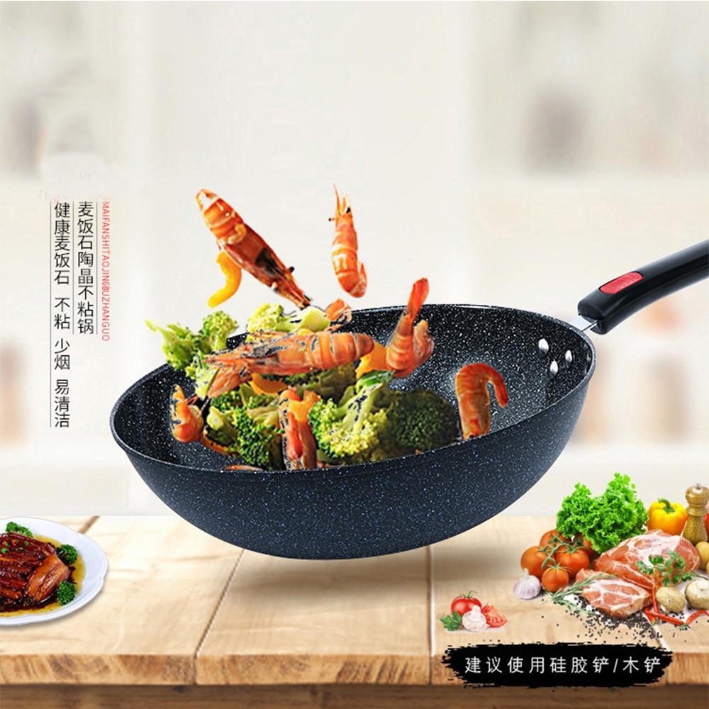 Chinese Traditional Iron Wok Handmade Large Carbon Steel Wok Non-stick 32cm Wok Gas Cooker Pan Kitchen Cooker