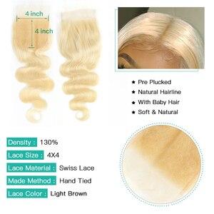 Image 5 - Monstar 613 Blonde Bundles With Closure Brazilian Body Wave Hair Bundles With Closure Remy Human Hair Weave 8   36 Inch Bundle