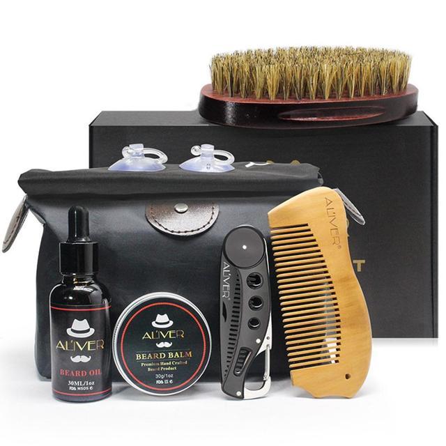 XY Fancy 7 Pcs/set Men Beard Care Suit Beard Comb Pig Bristle Brush Growth Cream Oil Beard Styling Care Cleaning Kit 1