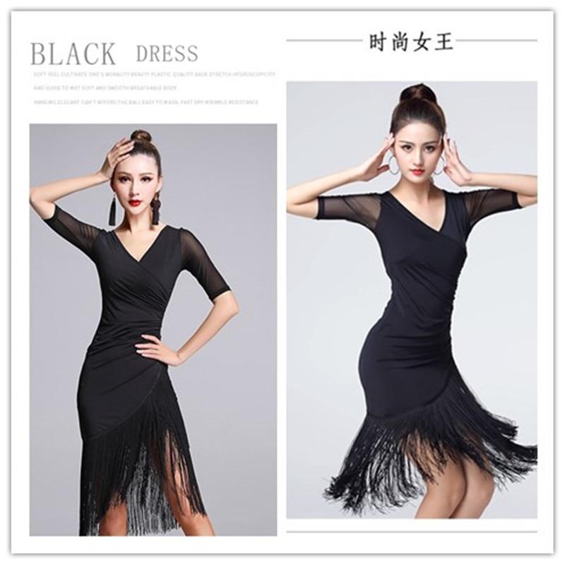 New Sexy Short-sleeve Latin Dance Tassel One-piece Dress For Women/female,/girl Ballroom Tango Cha Cha Rumba Costumes On Sale