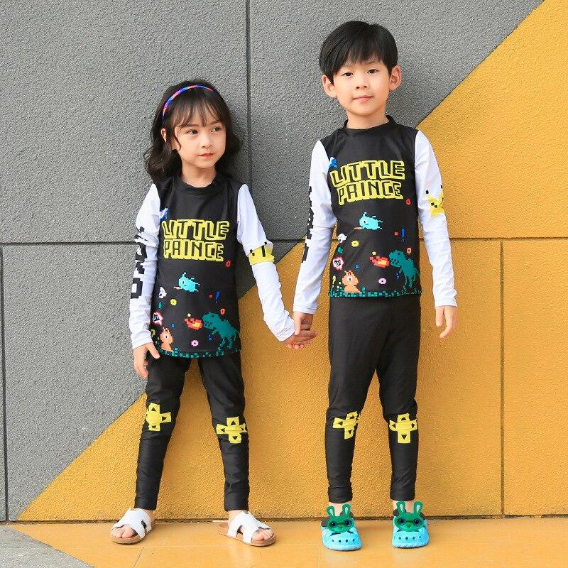 New Style Korean-style Children Long Sleeve Split Type Swimwear GIRL'S Swimsuit Sun-resistant Surf Wear BOY'S Big Boy Long Swimm