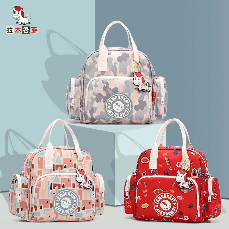 New Printing Mummy Bag Small Multifunctional Fashion Mother Bag Shoulder Slung Mother Bag