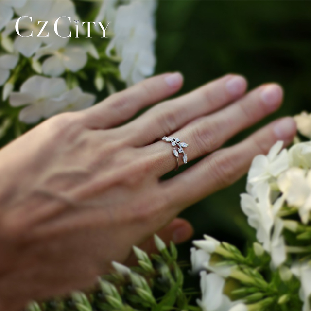CZCITY Korean 925 Sterling Silver Handmade Olive Leaf Rings for Women Exquisite CZ Stone Adjustable Open Ring Silver 925 Jewelry 6