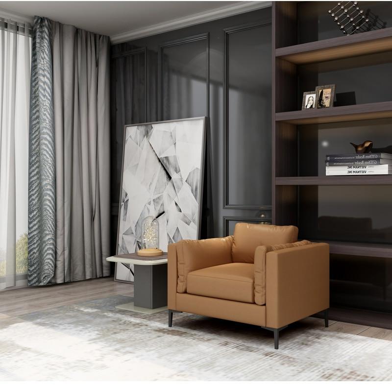 Современный желтый кожаный офисный Диванный кофейный столик для гостиной - Цвет: Single seat
