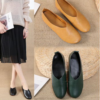 2020 Genuine Leather Flat Shoes Woman Hand-sewn Leather Loafers Cowhide Flexible Spring Casual Shoes Women Flats Women Shoes spring autumn soft bottom genuine leather comfortable flats large size women shoes flat with lace casual shoes elderly shoes
