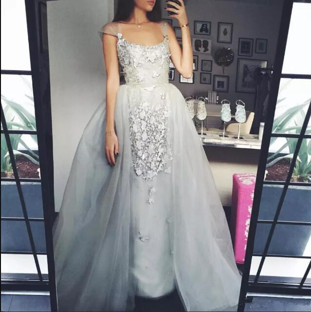 Thermal Imager Bridal Gray Over Skirts Tulle Long Scoop Neck Cap Sleeve Lace Applique Prom Gowns Mother Of The Bride Dress