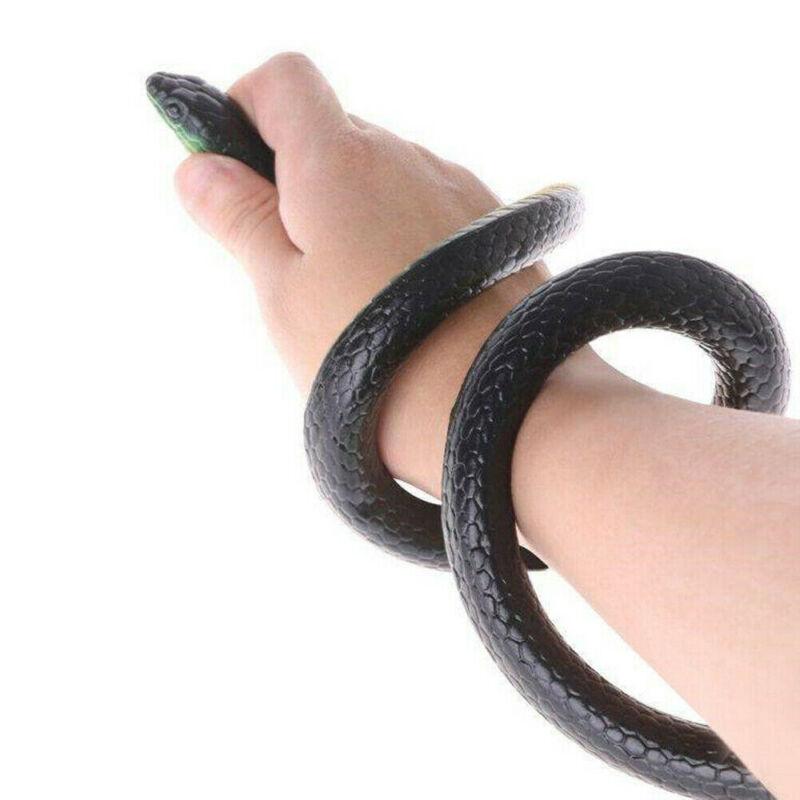 Pudcoco 2019 Brand New Style Emulate 54 Lifelike Realistic Large Rubber Fake Black Mamba Snake Scary Toy Prop Prank