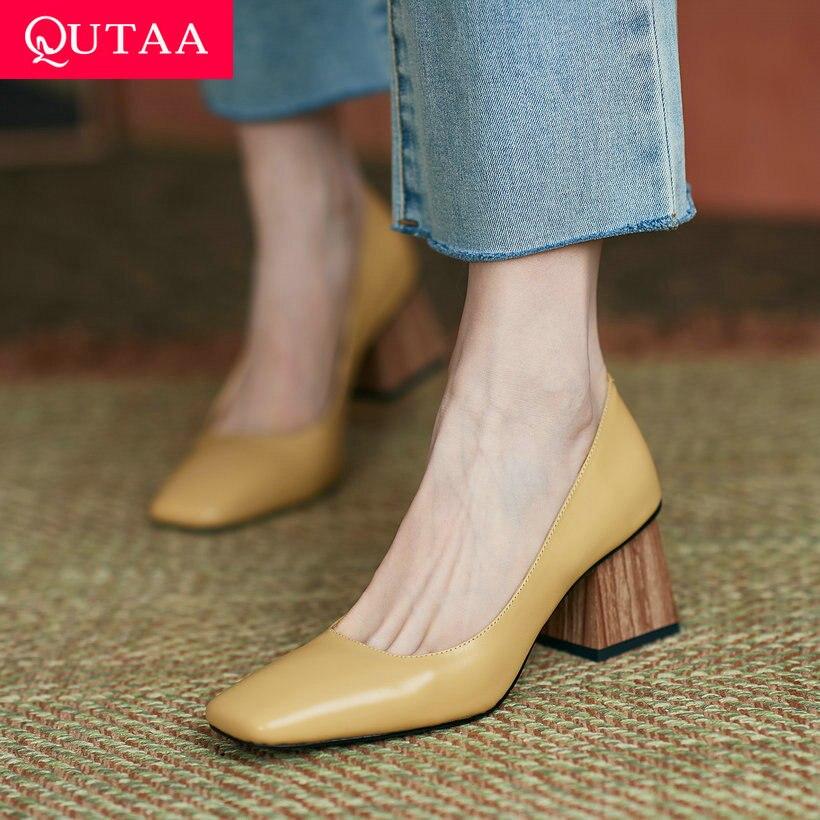 QUTAA 2021 bout carré sans lacet femmes chaussures en cuir véritable peu profond dames chaussures printemps automne concis carré talons hauts Size34-39