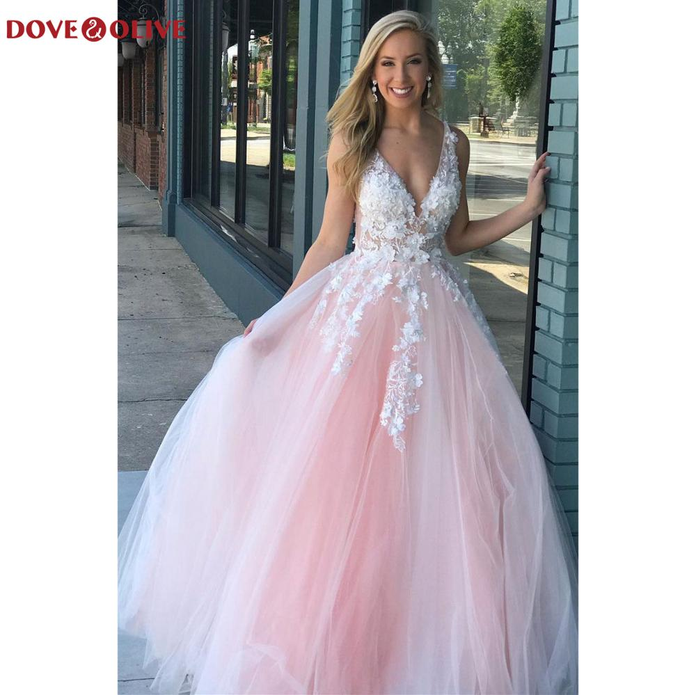 Lace Floral Prom Dresses Long Deep V Neck A Line Tulle Sleeveless 2020 Pink Evening Party Gowns Gala Elegant Fashion