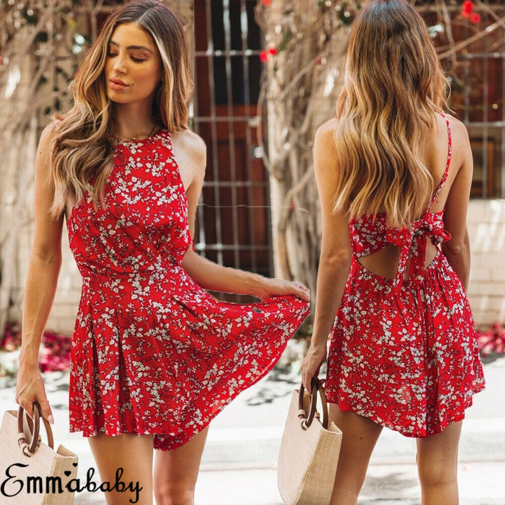 Brand New Women Boho Floral Rompers Ladies Backless Summer Beach Short Playsuit Fashion Ladies Sleeveless Holiday Jumpsuit
