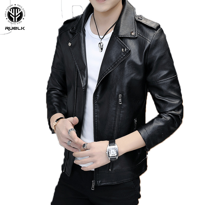 RUELK Autumn New Pu Leather Jacket Slim Long Sleeve Men's Trend Fashion Aviator Jacket Trench Coat Men's Clothing M-4XL