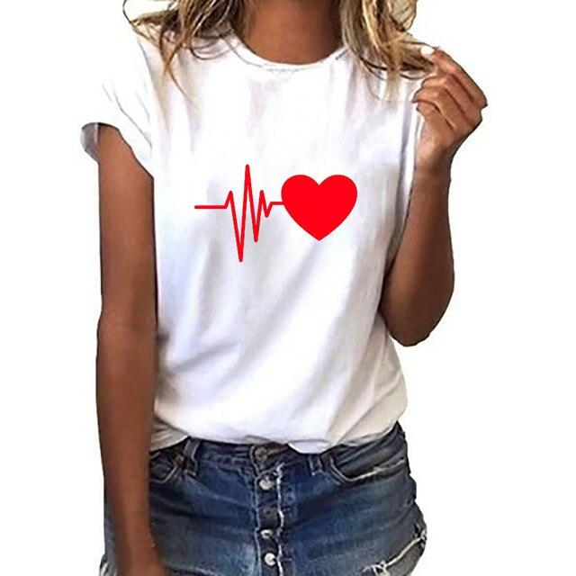 Blouse Women Vintage Shirt Fashion Women's Loose Short-sleeved Heart Prinshirt Casual O-neck Top Blusas Mujer рубашка женская 4