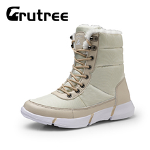 2019 New Fashion Casual Winter Warm Fur Boots Snow Waterproof men High Top Footwear Outdoor Lace Up Runnbe