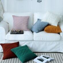 Funda de cojín de punto blanco Vintage sólido amarillo azul verde rosa verde café funda de almohada 45cm * 45cm Zip decoración del hogar abierto