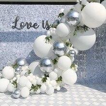 Globos blancos plateados 4D, guirnalda de confeti de plata, arco de globos de cumpleaños, Baby Shower, decoración para fiesta de aniversario, 101 Uds.