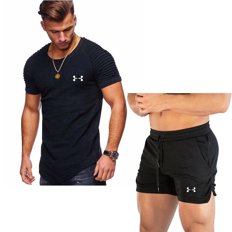 2020 Tide Tracksuit Men Sweatshirt Sets Mens Summer Pants Short T-shirt Quick Dry Beach Shorts Casual Suits Mens Sportswear
