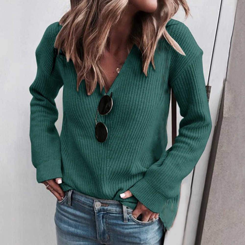 2019 Knitted Sweater Women Winter Autumn Casual V Neck Women Pullover Sweater Long Sleeve Green Black White Pink Jumper Mujer