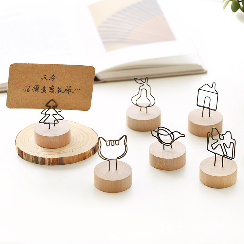 TUTU Creative Round Wooden Photo Clip Memo Name Card Pendant Holder Note Articles Picture Frame Table Number Photo Holder H0326