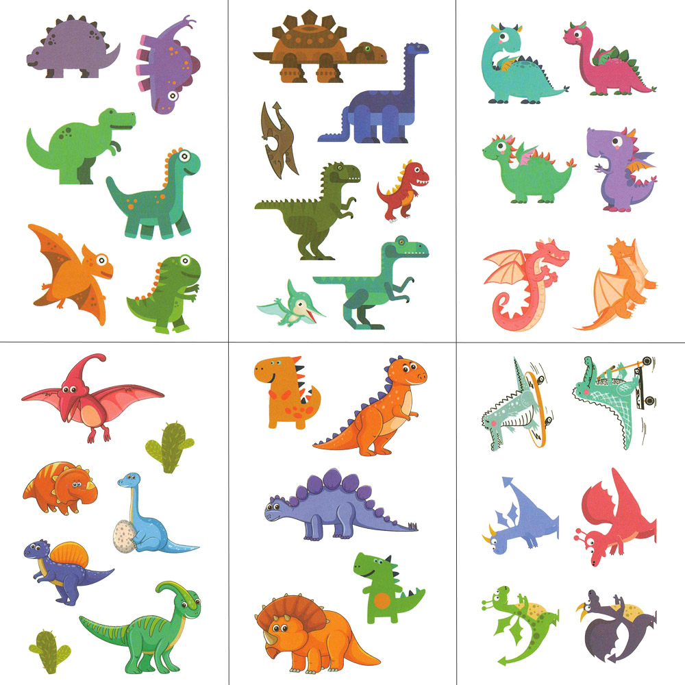 HXMAN Colorful Dinosaur Women Temporary Tattoo Sticker Tattoos For Waterproof Men Body Art Kids Hand Fake Tatoo 10.5X6cm A-422