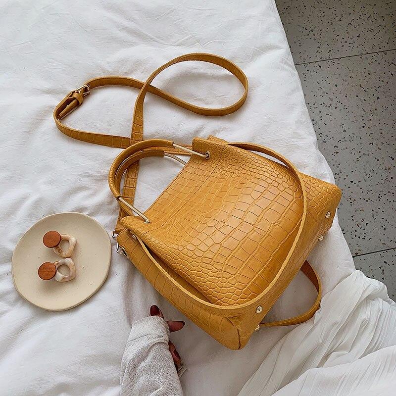 ranhuang bolsas femininas de ombro de couro pu bolsa balde jacare bolsa de mao designer de