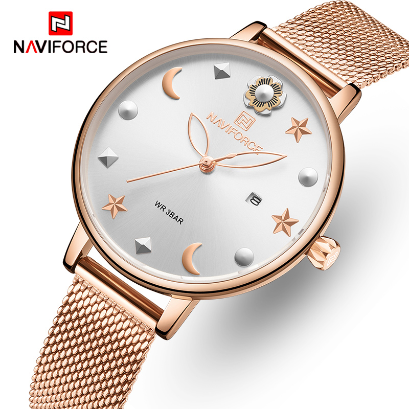 NAVIFORCE Women Watches Women's Fashion Clock Vintage Design Ladies Watch Luxury Brand Gold Metal Waterproof Relogio Feminino
