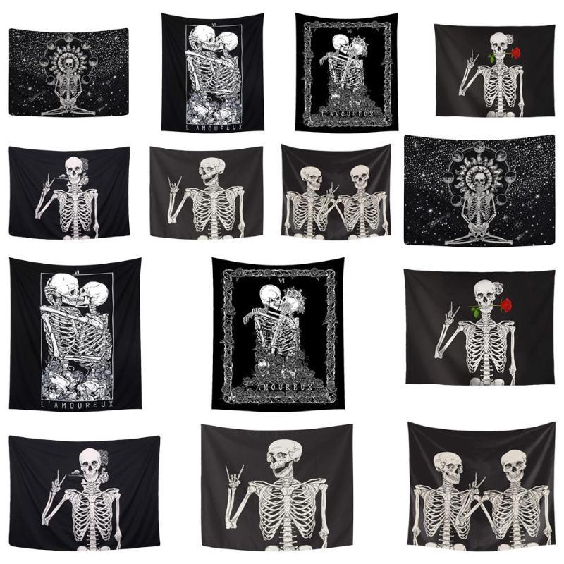 Mandala Skull Printed Tapestry Art Table Cloth Bohemian Beach Towel Tablecloth Wall Hanging Blanket Yoga Mat Halloween Tapestry
