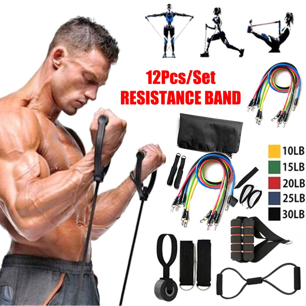 12pcs/ Set Pull Rope Latex Fitness Exercises Resistance Bands Elastic Exercises Body Fitness Workout Strength Gym Equipment