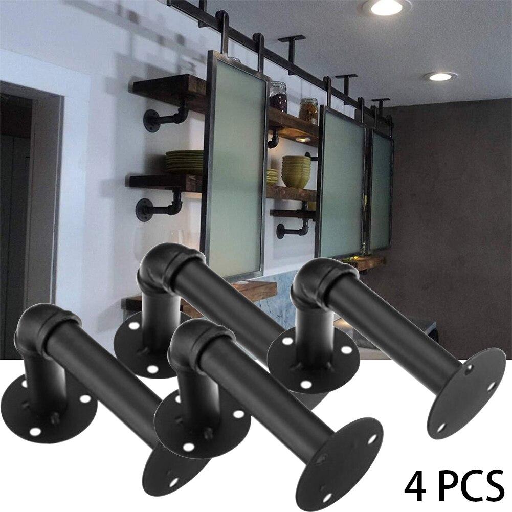 4pcs 6/'/'X 3/'/' Industrial Steel Pipe Wall Mount Shelf Bracket Rustic Holder Decor