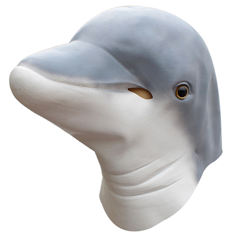 Animal Shape Dolphin Spoof Mask Party Costume Cosplay Halloween Head Gear Latex M09