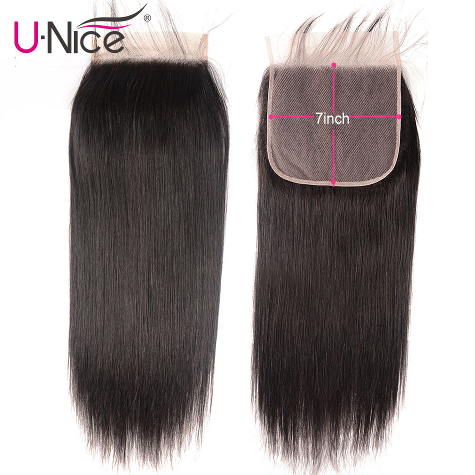 "Unice Hair Peruvian Straight Hair Closure 7""x7"" Remy Human Hair Lace Closure Swiss Lace 10-18 Inch Free Shipping"
