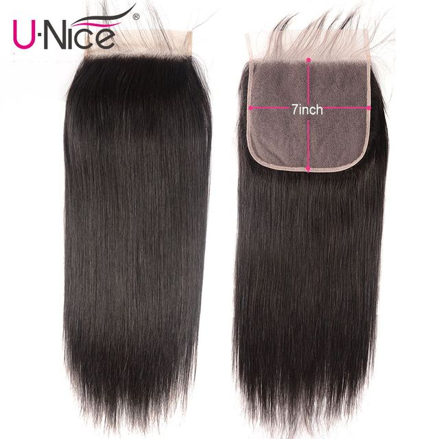 """$ US $51.30 Unice Hair Peruvian Straight Hair Closure 7""""x7"""" Remy Human Hair Lace Closure Swiss Lace 10-18 Inch Free Shipping"""