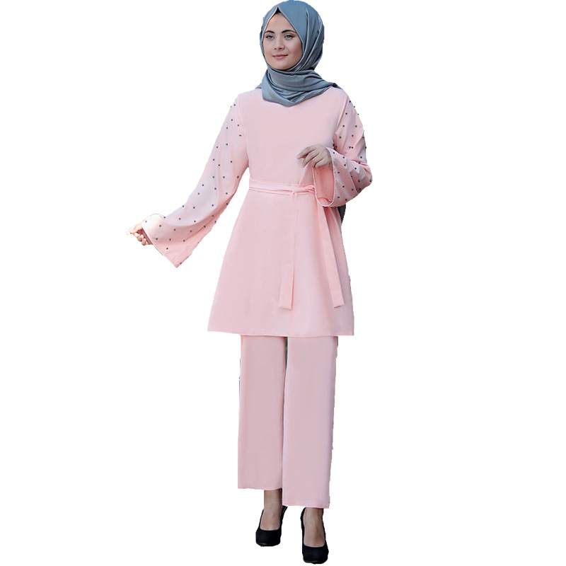 2020 Muslim 2 Piece Sets Women Abaya Dubai Lace up Tops and Wide Leg Pants Ramadan Prayer Clothes