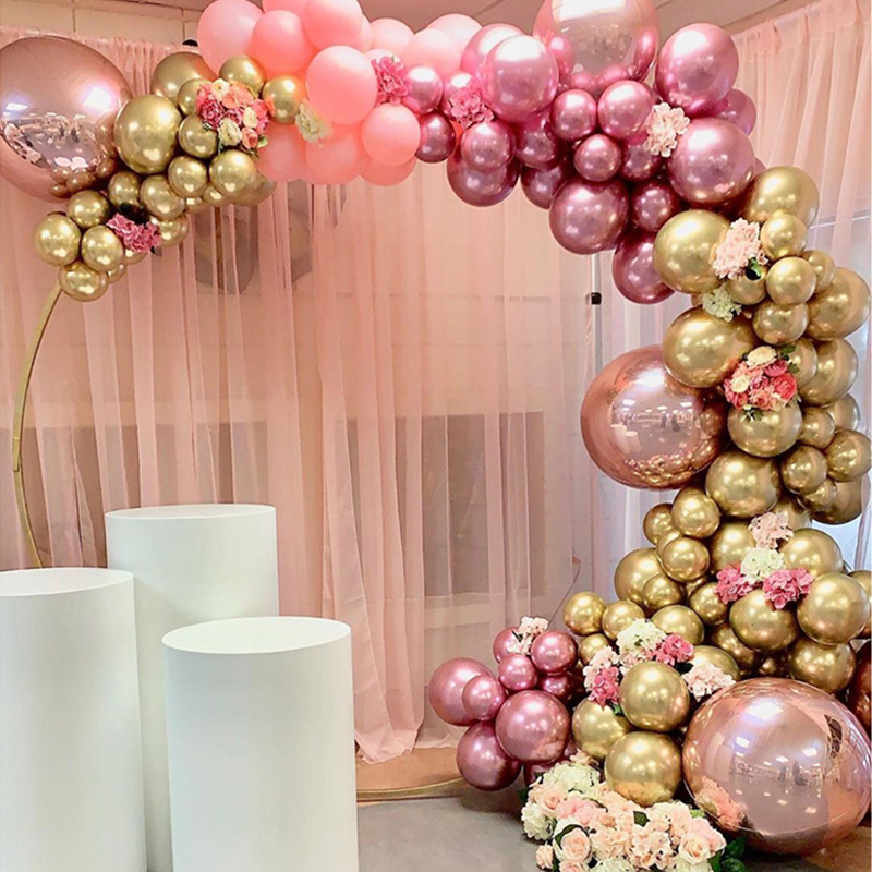 126pcs Chrome Gold Rose Pastel Baby Pink Balloons Garland Arch Kit 4D Rose Balloon For Birthday Wedding Baby Shower Party Decor