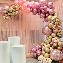 126 adet krom altın gül Pastel bebek pembe balonlar Garland Arch kiti 4D gül balon için doğum günü düğün bebek duş parti dekor