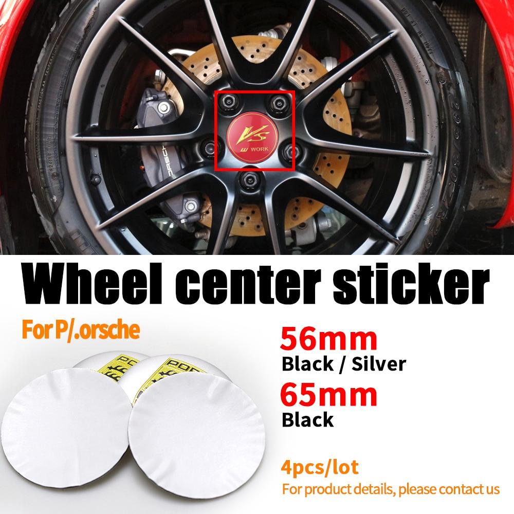 4pcs 56mm 65mm Car Tire Wheel Center Hub Cap Rim Refit Badge Sticker For Porsche 911 Macan 718 Boxster Cayenne Cayman Panamera