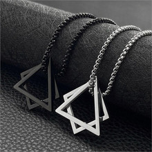 Popular Interlocking Square Triangle Male Pendant For Men Stainless Steel Modern Trendy