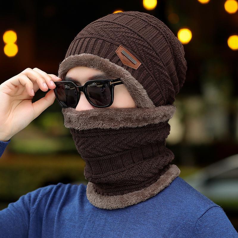 COKK зимние шапки с бархатным воротником для мужчин бини вязаная шапка с шарфом вельветовый утепленный комплект ветрозащитная уличная Зимняя распродажа - Цвет: Brown
