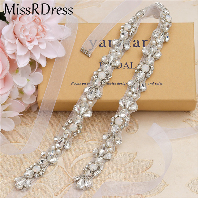 MissRDress Opalas de Cristal Cinto De Noiva Prata Faixa De Casamento Para As Mulheres Strass Cinto Fino Vestido de Noiva vestido de Baile JK977