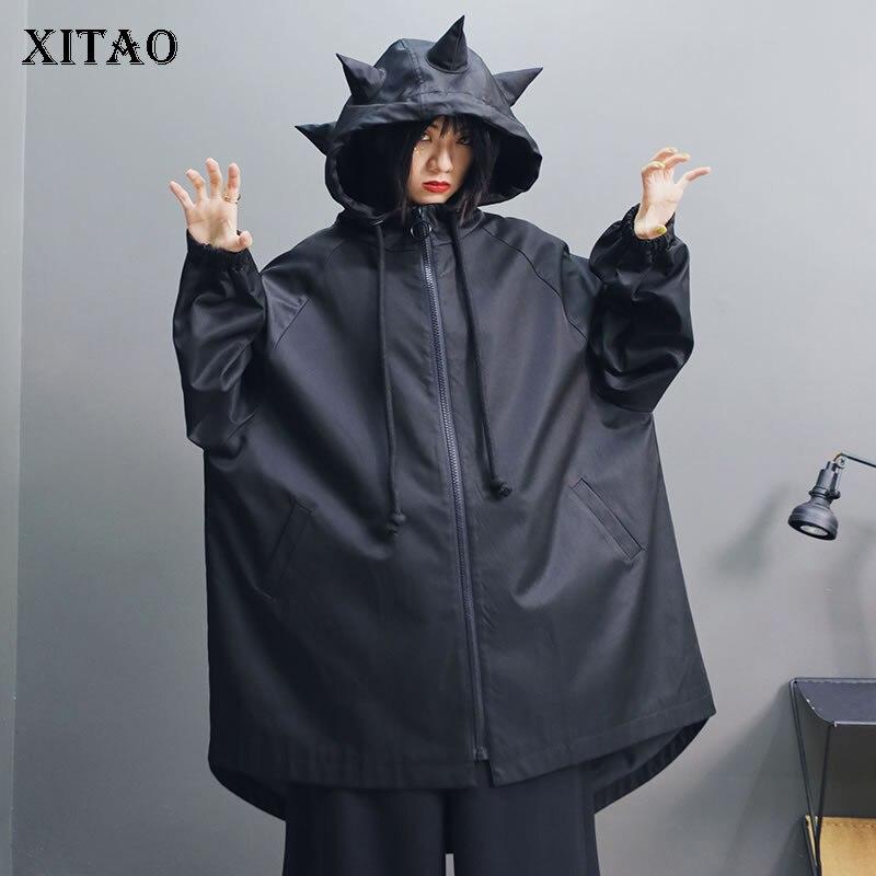 XITAO grande taille irrégulière noir Trench femmes vêtements 2019 mode Vintage dinosaure personnalité lâche mince manteau automne WQR1917