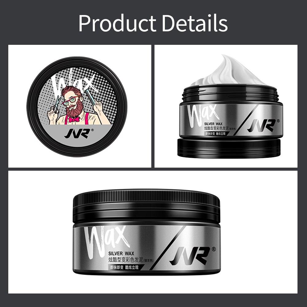 JVR 80g Temporary Hair Color Wax Men Women One-time DIY Hair Dye Molding Paste Dye Cream Hair Mud For Hair Coloring Styling Grey 6