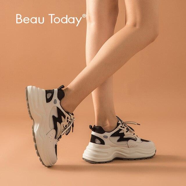 Beautoday chunky 스니커즈 여성 암소 가죽 메쉬 레트로 스타일 레이스 업 혼합 색상 레이디 캐주얼 두꺼운 신발 수제 29326